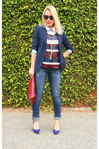 blue pumps Boutique 9 shoes - blue Joes Jeans jeans - navy Zara blazer