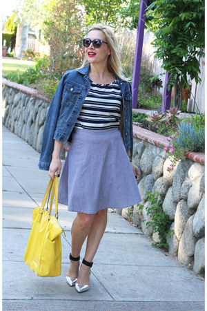 navy striped blouse Le Tote top - blue denim jacket Paper Denim & Cloth jacket