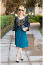 teal midi asos skirt - black cropped thrifted blazer