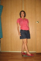red Toms shoes - navy Target shorts - red blouse - black belt