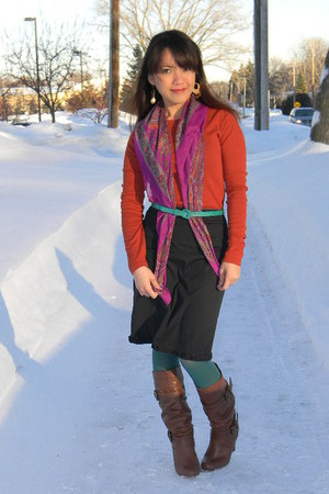 tawny Target boots - teal Nine West tights - magenta scarf - burnt orange Target