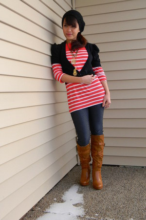 tawny Bamboo boots - navy Old Navy leggings - red striped Old Navy shirt - black