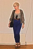 Bik Bok pants - vintage bag - new look bodysuit - H&M necklace - vintage belt