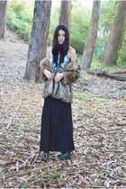 black Jeffrey Campbell boots - tan lucca couture coat - black maxi asos skirt
