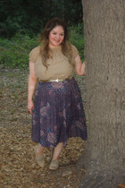 nude Steve Madden shoes - tan Ross shirt - deep purple thrifted skirt - gold thr