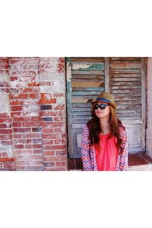 orange blouse - faded skinnies jeans - fedora hat - aztec patterned blazer