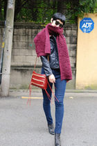 black jacket - red jeans - scarf - red Rebecca Minkoff bag