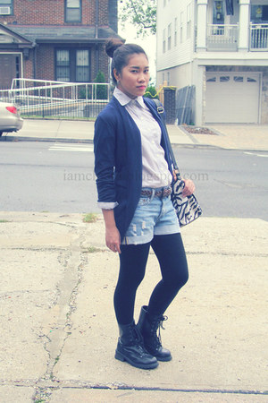 off white Forever 21 top - black boots - shorts - navy Forever 21 cardigan