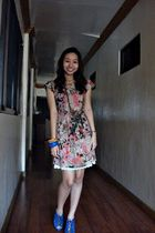 orange Mango dress - blue Zara shoes