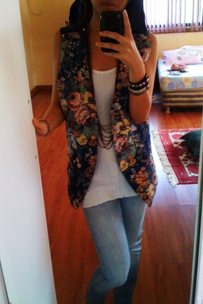 blue thrifted vest - white from Macau top - blue Forever 21 jeans