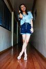 Silver-papaya-top-blue-topshop-shorts-white-aerosoles-shoes-black-belt