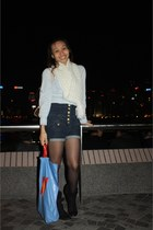 white H&M scarf - light blue Dorothy Perkins top - blue Topshop shorts - black b