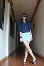 Blue-h-m-top-white-belt-silver-terranova-shorts-blue-bayo-shoes