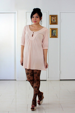 light pink asos dress - brown floral Forever 21 tights