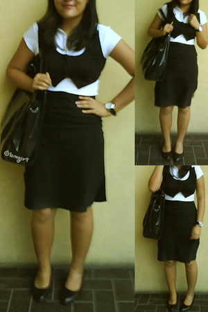 black human vest - white Bayo shirt - black hand me down from my sister skirt -
