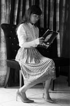 white vintage blouse - nude Janylin heels - bubble gum wacoal skirt