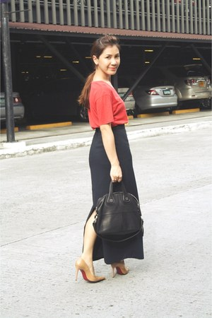 black hk Vintage Long skirt - red Zara Man t-shirt