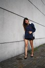 Black-zara-shorts-navy-school-blouse-black-marks-spencer-heels