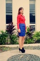 blue Zara skirt - black M&S boots - red Zara top