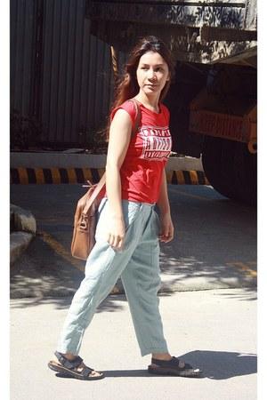 HK top - Bershka pants - Birkenstock sandals