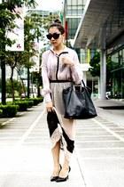 YSL bag - HK Closet see through top - Zara skirt