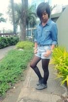 denim shorts - SO Fab boots - black Topshop tights - blue denim Forever 21 top
