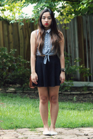 black American Apparel skirt - off white American Eagle flats