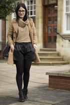 River Island boots - H&M coat - Zara shorts - Topshop jumper