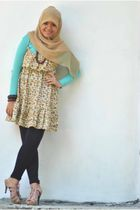 beige Icon99 shoes - brown dress - blue cardigan