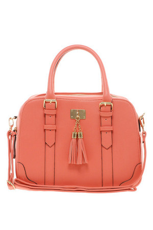 light orange faux leather Betty Box Bowler Bag bag