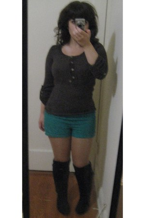 turquoise blue lace Forever 21 shorts - black faux suede strawberry boots