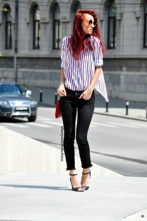 jeans - shirt - bag - sunglasses - sandals