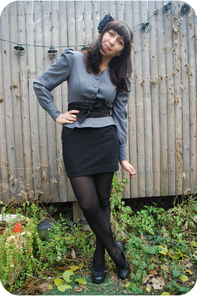 gray Emmanuelle Khanh jacket - black H&M skirt