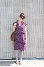 Purple-vintage-dress-gray-modcloth-socks-beige-aerosoles-shoes-brown-targe