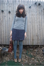 Gray-zara-sweater-blue-vintage-dress-beige-seychelles-shoes-green-uo-tight