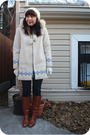 White-opasquia-coat-blue-kensie-jeans-brown-dexter-boots-white-tulle-glove