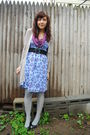 Purple-modcloth-scarf-blue-kensiegirl-dress-gray-kensiegirl-cardigan-gray-