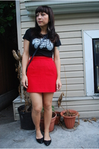thrifted skirt - Brother t-shirt - le chateau shoes