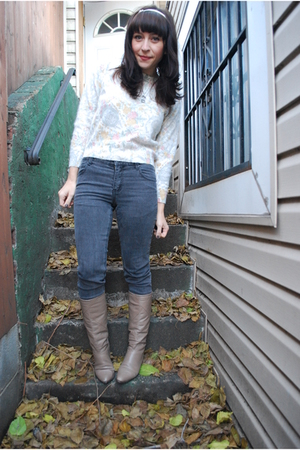 gray Cheap Monday jeans - white vintage sweater - beige vintage boots