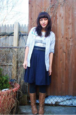 blue aa skirt - gray f21 shirt - beige Steve Madden boots