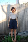 Blue-thrifted-shorts-white-modcloth-dress-gold-clydes-rebirth-necklace