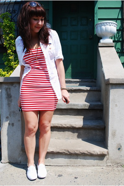 red H&M dress - white Keds shoes - white kensiegirl shirt