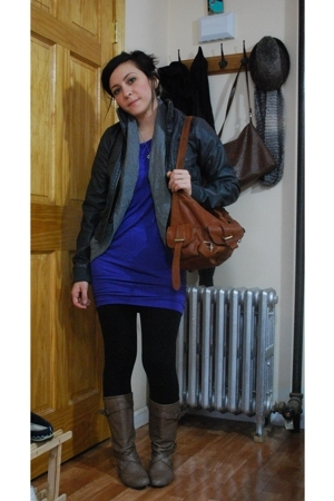 H &amp; M jacket - kensie - kensiegirl dress - purse - Steve Madden boots