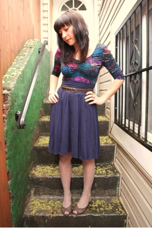 American Apparel skirt - H &amp; M top - H &amp; M tights - Payless shoes