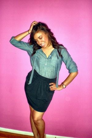 blue Loft blouse - black skirt