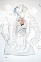 Marilyn Monroe Photo Printed White Fur Ice Princess Turtleneck Sweater