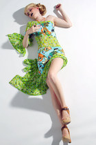 Anime Spring Time Print Asymetrical Peek A Boo Spandex Dress