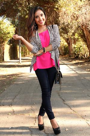 hot pink dulcecandyxo blouse - eggshell dulcecandyxo blazer