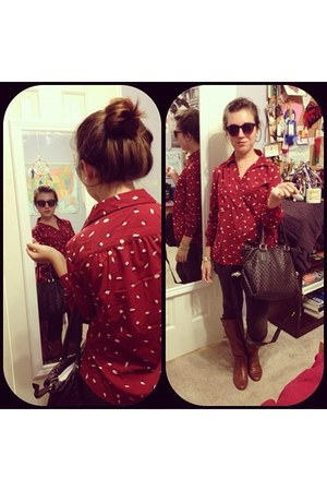 dark red color Forever 21 blouse