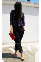 navy LAK jeans - red longchamp bag - navy LAK wedges - navy H&M top